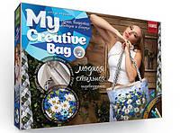 Набор для творчества «MY CREATIVE BAG» - стильная сумка ВАСИЛЬКИ с РОМАШКАМИ, вышитая лентами и бисером.