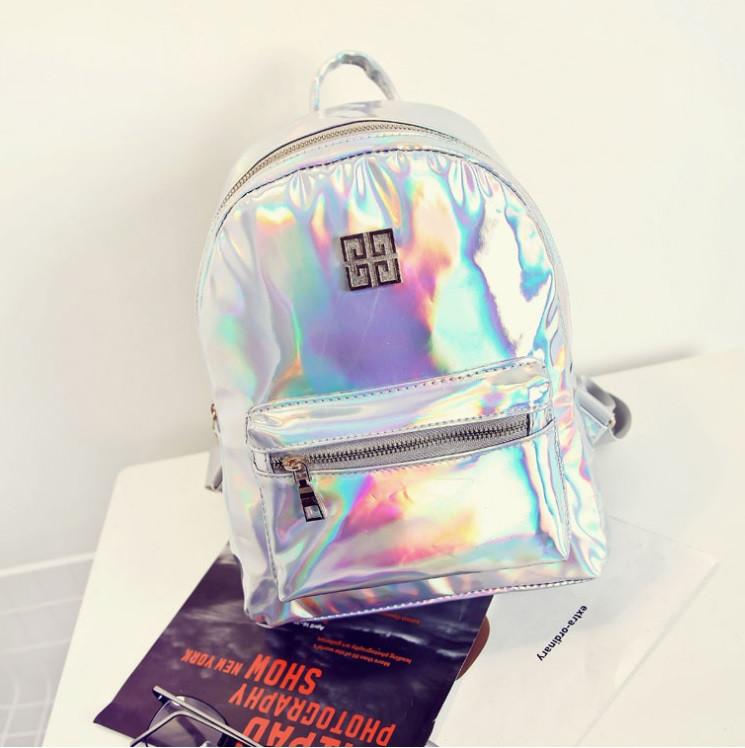 Стильный серебристый рюкзак голографический Givenchy (Живанши) ( код: IBR084S )