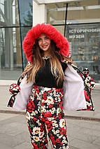 Жіночий зимовий костюм з квітковим принтом на овчині 42-46 р, фото 3