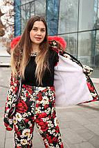 Жіночий зимовий костюм з квітковим принтом на овчині 42-46 р, фото 2