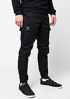 Летние штаны мужские карго Symbiote ТУР черные модные молодежные зауженные