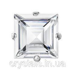 Квадрати в цапах Preciosa (Чехія) 6х6 мм Crystal/срібло