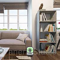 Полиця для книг, стелаж для дому з задньою стінкою на чотири полиці, що регулюються по висоті, фото 4