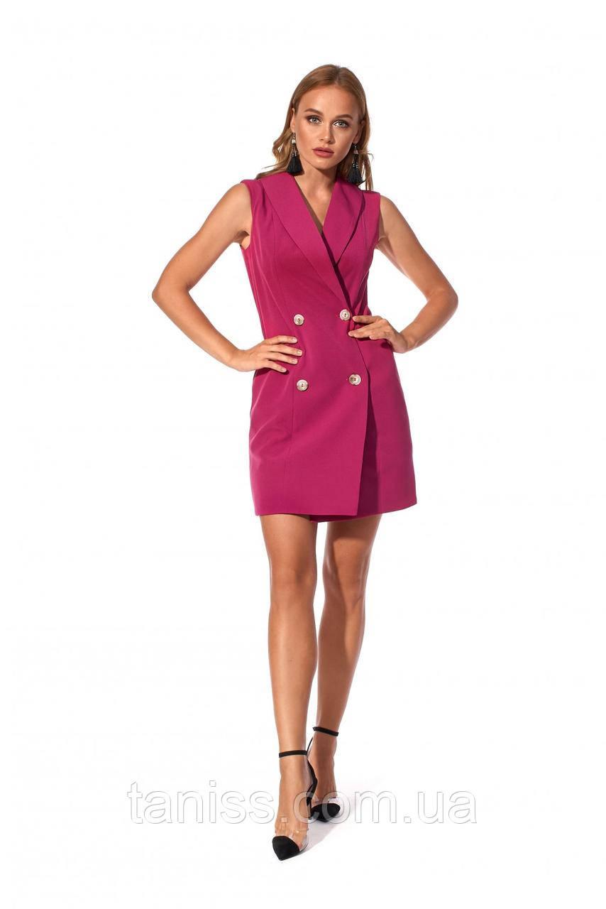 Стильное, деловое, офисное  платье, ткань креп костюмка, размеры 42,44,46,48 (1187.2) фуксия