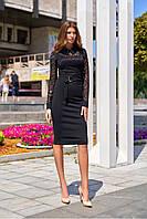 Женственное Утонченное Платье Футляр с Гипюром Черное S-XL