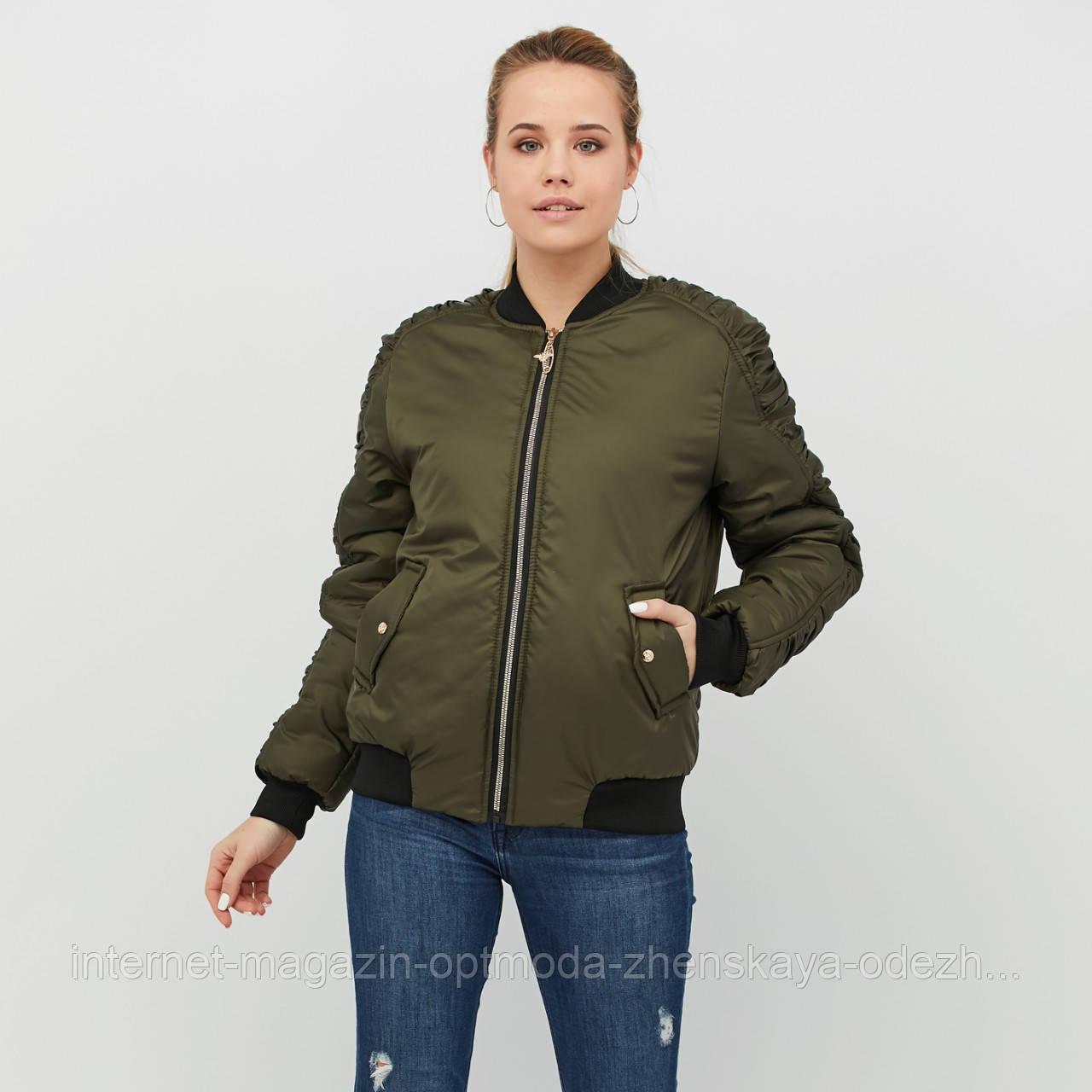 Женский бомбер куртка короткая
