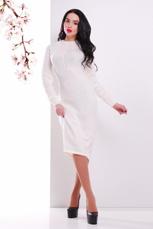 Вязаное платье 137 молоко