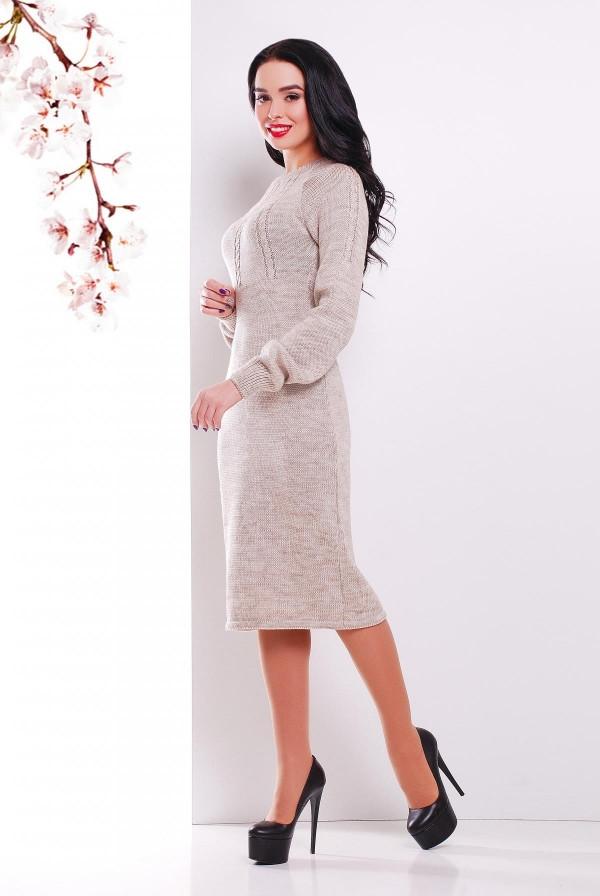 Вязаное платье 137 капучино