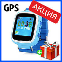 Детские смарт-часы Q80 с GPS трекером. Smart Watch детские умные часы синии, умные часы детские, фото 3