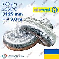 АЛЮВЕНТ Н 125 / 3,0 м алюминиевый гибкий воздуховод-гофра для приточно-вытяжной вентиляции, фото 1