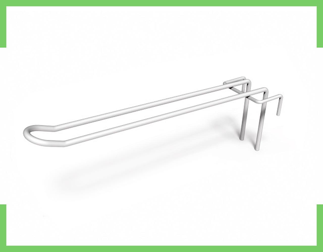 Торговый Крючок двойной на сетку 15см (белый,металлик)