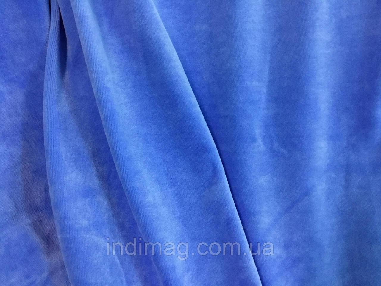 Велюр хлопковый голубой ринг 10 метров