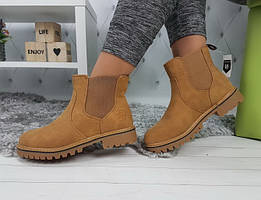Ботинки женские челси тимбер низкий ход коричневые деми утепленные