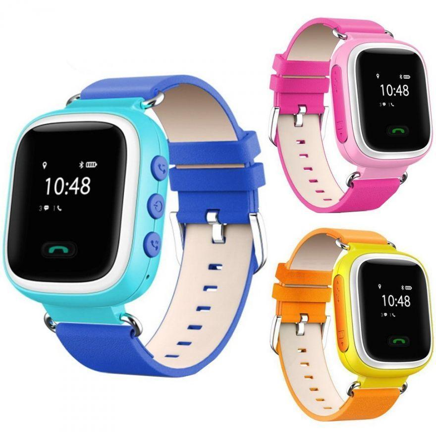 Детские умные смарт часы Q90S/100 с GPS и кнопкой SOS голубые