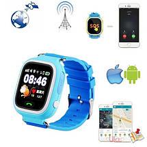 Детские умные смарт часы Q90S/100 с GPS и кнопкой SOS голубые, фото 3