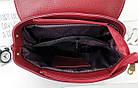 Женская сумка-рюкзак красного цвета, натуральный замш+эко кожа структурная (под бренд), фото 2