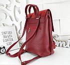 Женская сумка-рюкзак красного цвета, натуральный замш+эко кожа структурная (под бренд), фото 3