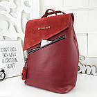 Женская сумка-рюкзак красного цвета, натуральный замш+эко кожа структурная (под бренд), фото 6