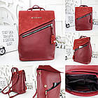 Женская сумка-рюкзак красного цвета, натуральный замш+эко кожа структурная (под бренд), фото 5