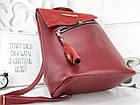 Женская сумка-рюкзак красного цвета, натуральный замш+эко кожа структурная (под бренд), фото 4