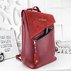 Женская сумка-рюкзак красного цвета, натуральный замш+эко кожа структурная (под бренд), фото 7