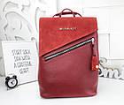 Женская сумка-рюкзак красного цвета, натуральный замш+эко кожа структурная (под бренд), фото 9