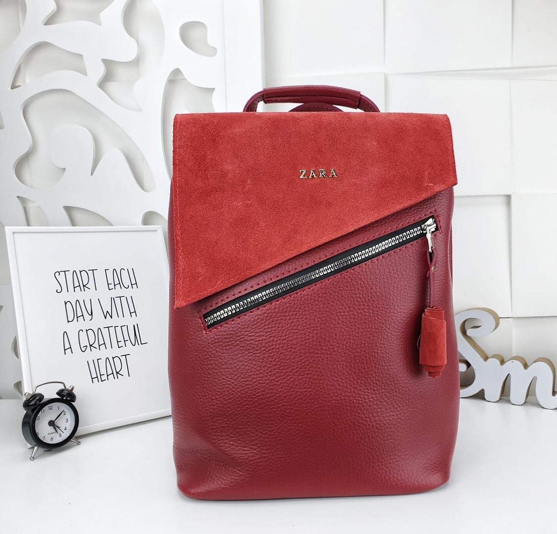 Женская сумка-рюкзак красного цвета, натуральный замш+эко кожа структурная (под бренд)