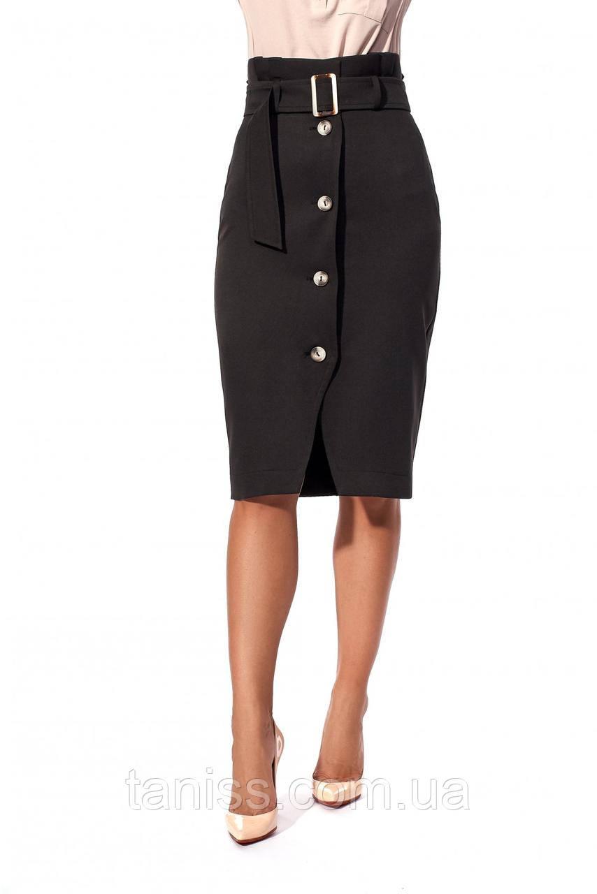Стильная юбка-карандаш, с завышенной талией, ткань коттон мемори, размеры 42,44,48 (232.1) черный