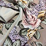 Аромат любви 1378-1, павлопосадский платок (шаль, крепдешин) шелковый с шелковой бахромой, фото 8