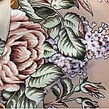 Аромат любви 1378-1, павлопосадский платок (шаль, крепдешин) шелковый с шелковой бахромой, фото 6