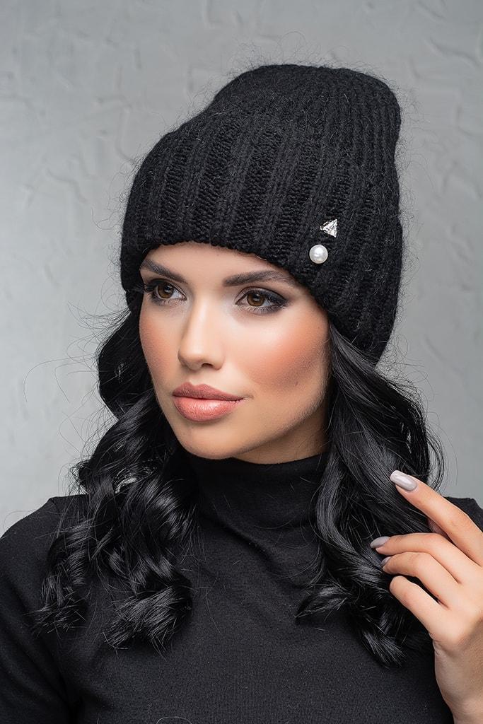 Женская шапка с отворотом Flirt Персия One Size черная
