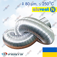 Алюминиевая гофра для вытяжки АЛЮВЕНТ Н (1 слой 80 мкм, неизолированный гибкий воздуховод)