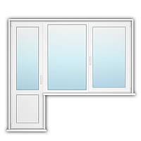 Балконный блок с открывным окном Rehau 70 1200х1400, 700х2150 с энергосбережением