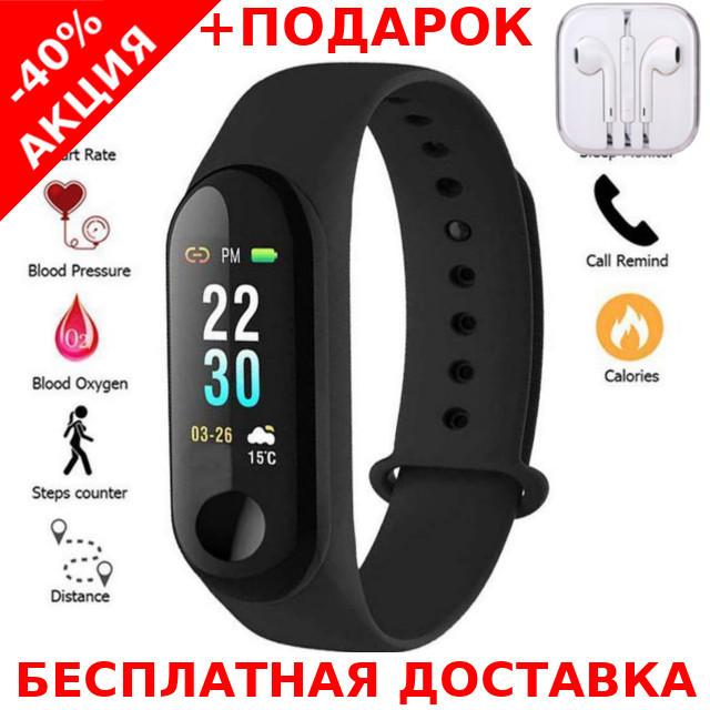 Фитнес-браслет intelligence health bracelet M3 Xiaomi Original size + наушники iPhone 3.5, фото 1
