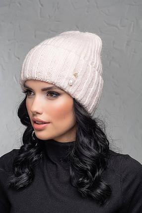 Женская шапка с отворотом Flirt Персия One Size пудра, фото 2