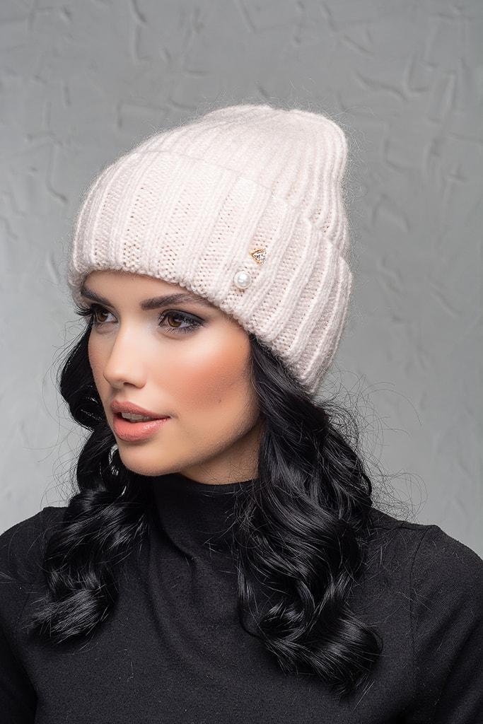 Женская шапка с отворотом Flirt Персия One Size пудра