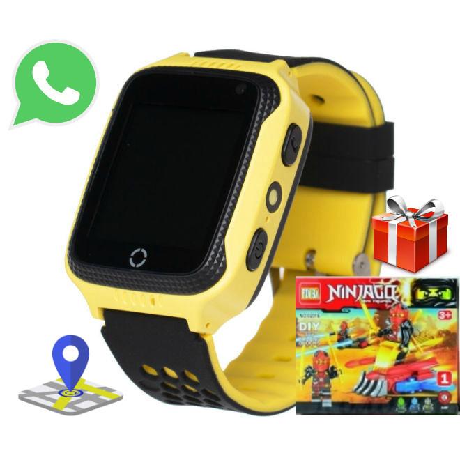 Детские Смарт Часы GPS A15S Цвет Жёлтый + Подарок Лего (гарантия 6 мес.)