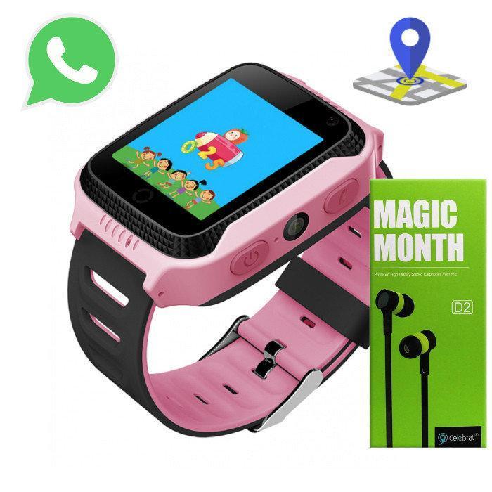 Детские Смарт Часы A15S GPS Цвет Розовый (гарантия 6 мес.) + Наушники