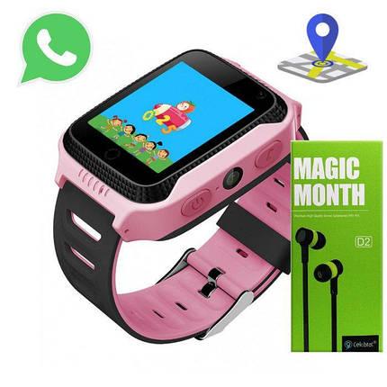 Детские Смарт Часы A15S GPS Цвет Розовый (гарантия 6 мес.) + Наушники, фото 2