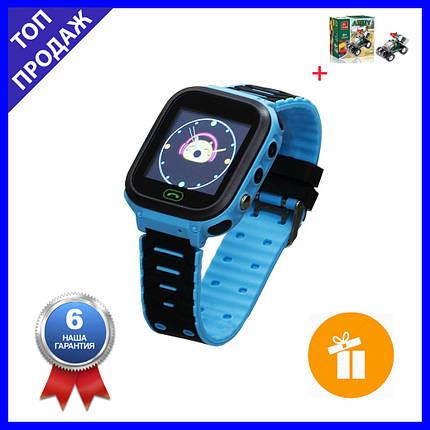 Детские Смарт Часы T18 GPS Цвет Синий (гарантия 6 мес.) + Подарок конструктор, фото 2