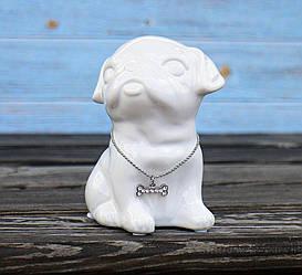 Копилка собачка Мопс белая керамика h13см 4506700-1 мопс