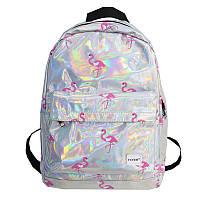 Рюкзак голографический большой с фламинго