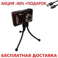 Гибкий настольный мини штатив тринога трипод для телефона камеры 29 см синий осьминог паук+ шнур USB