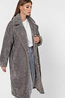 Шубка женская искусственная серая модная PL-8856-4