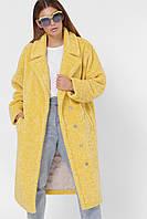 Шуба из искусственного меха модная стильная желтая PL-8856-6