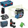 ЗЕЛЕНЫЕ ЛУЧИ!! 50 м. Лазерный нивелир Bosch GLL 3-80 CG Professional+КРОНШТЕЙН+Li-ion+12V+L-boxx