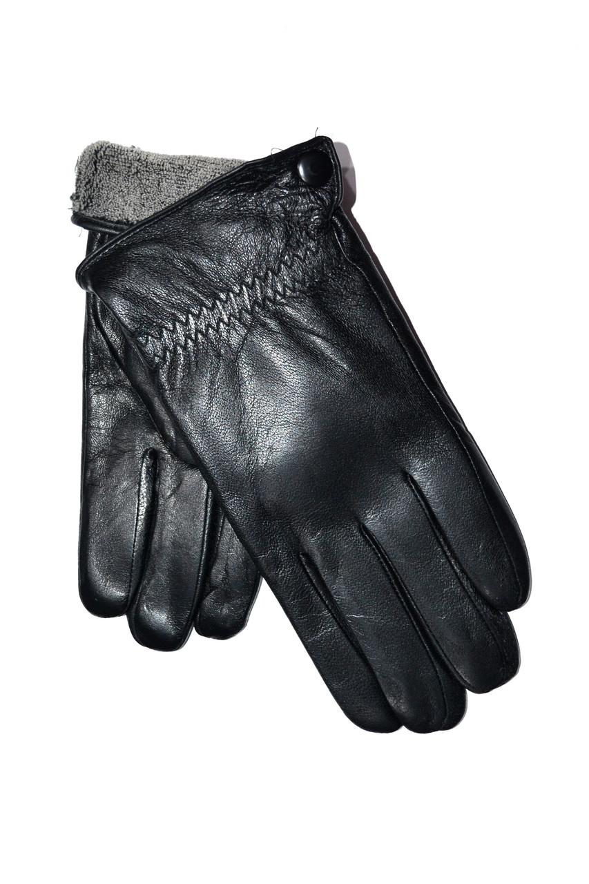 Мужские сенсорные кожаные перчатки на махре оптом