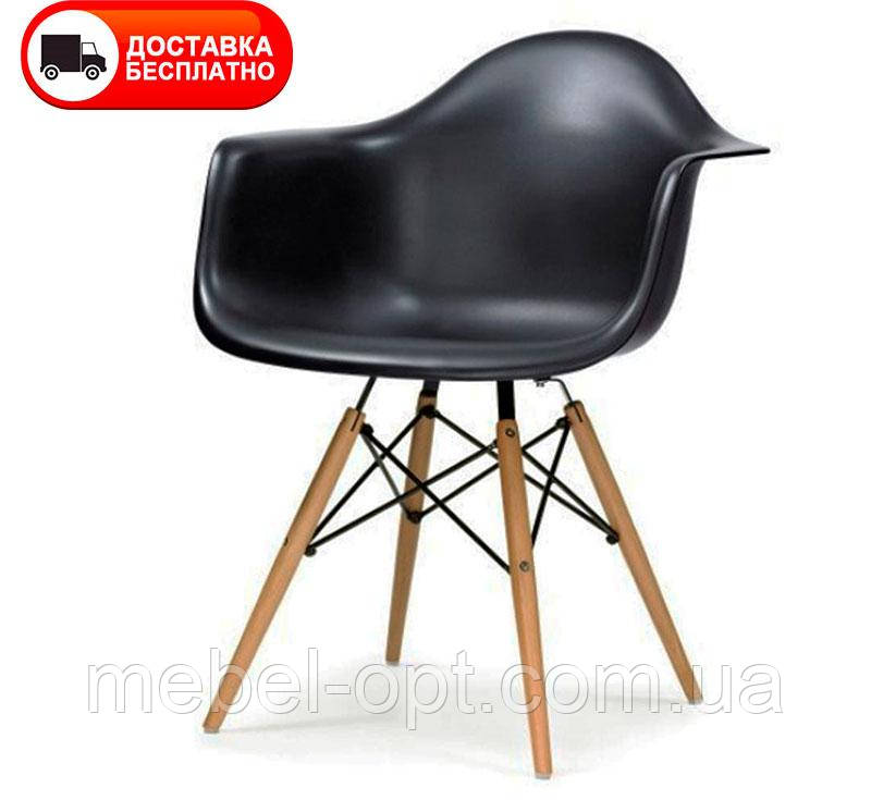 Кресло Тауэр Вуд черный пластик Eames DAW Armchair