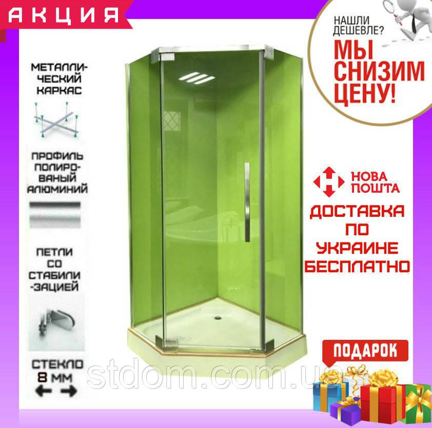Пятиугольная душевая кабина 100х100 см без поддона Veronis KN-8-100 прозрачное стекло