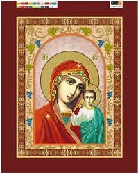 """Схема для вышивки бисером на подрамнике (холст) икона """"Богородица Казанская"""", фото 2"""